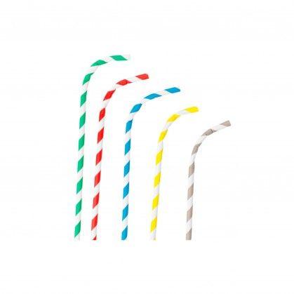 Sortido Palhinhas Flexíveis Riscas Ø 0,60 x 23 cm Papel