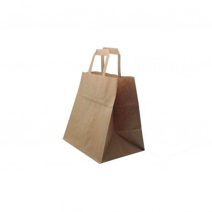 Saco de Papel Kraft de Alça Plana 26 + 14 x 32 cm