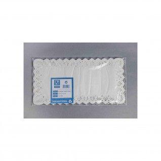 Naperon Branco Rendado Rectângular 6 24 x 48 cm