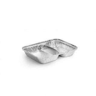 Forma de alumínio retangular com divisória e tampa 810 ml