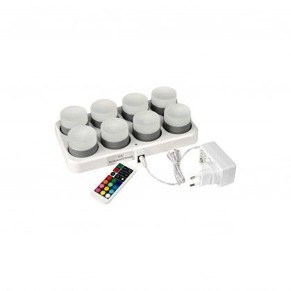 Jogo de 8 lâmpadas LED Mini recarregáveis 48 x Ø 50 mm 13 h